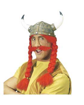 Elmo Gaulois Obelix in Lattice con Parrucca Trecce e Baffi