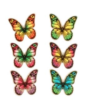 6 Farfalle Multicolor Decorative Piatte in Zucchero 4cm
