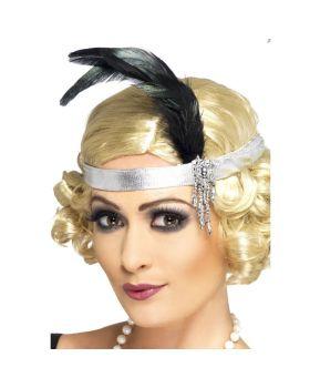 Fascia Charleston Argento con Perline e Piume