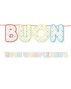 Festone Maxi Buon Compleanno Pois Multicolor