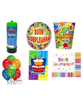 Kit Coordinato Tavola Buon Compleanno Multicolor con Bombola Elio 20 Persone