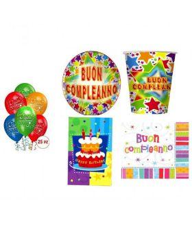 Kit Coordinato Tavola Buon Compleanno per 40 Persone