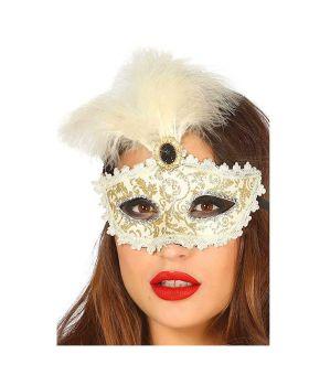 Maschera Avorio Decorata con Gemma e Piuma