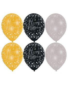 Palloncini Lattice Medi Compleanno Happy Birthday Oro, Nero e Argento 6pz