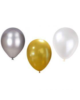Palloncini Lattice Colorati Metallizzati Medi 25pz