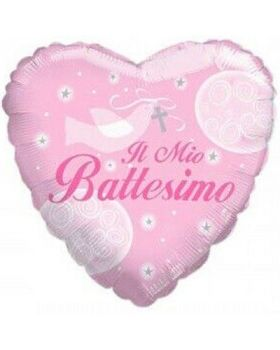 Palloncino Foil Cuore Il Mio Battesimo Rosa 46cm