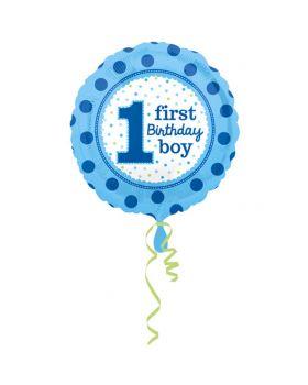Palloncino Foil Rotondo First Birthday Boy