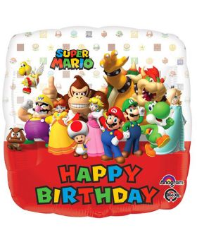 Palloncino Foil Quadrato Happy Birthday Super Mario 43cm