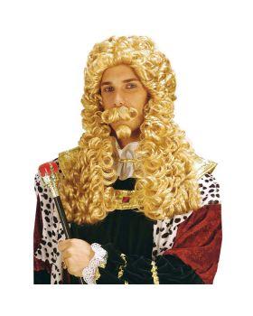 Parrucca Re Sole Le Roi  Bionda con Baffi e Pizzetto
