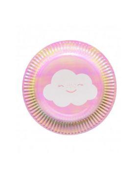 Piattini Dessert Arcobaleno e Nuvolette Iridescenti