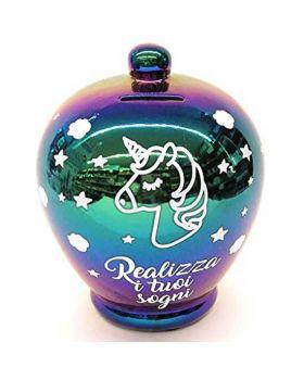 Salvadanaio Terracotta Realizza i Tuoi Desideri Unicorno Iridescente 20cm