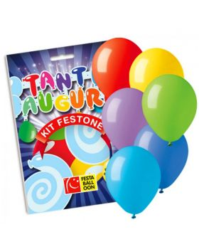 Set Festone Carta Scritta Tanti Auguri Colorata e 6 Palloncini Multicolor