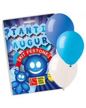 Set Festone Carta Scritta Tanti Auguri Azzurra e 6 Palloncini Celesti